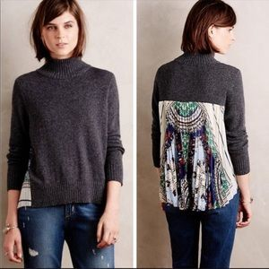 Anthro Moth Rona Gray Turtleneck Pleated Sweater